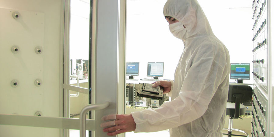 Entering our Sacramento facility's ISO 5 / Class 100 certified data recovery cleanroom
